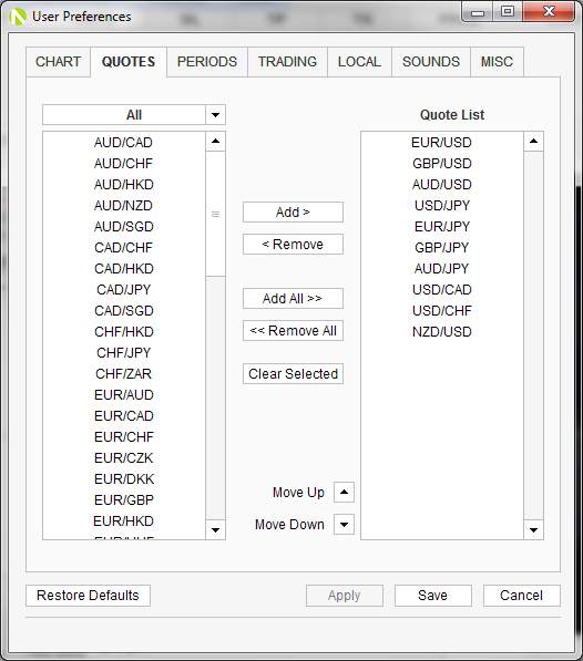 From The Rates List On Right Side Select Each Currency Pair You Want To Move And Then Click Arrows Next Up Or Down